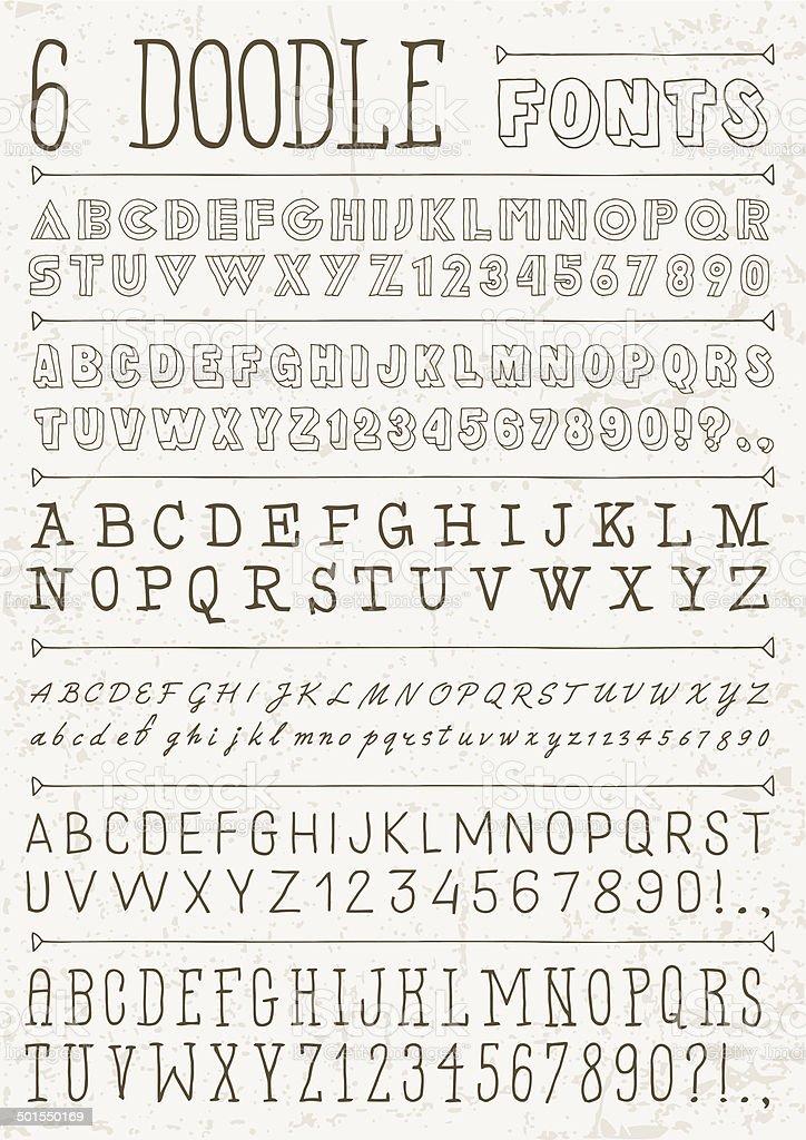 6 doodle vecteur polices de caractères.  Lettre de l'Alphabet. - Illustration vectorielle