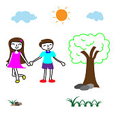 Doodle vector happy innocent boy and girl hold one's hands in the park, children's playground in the bright day
