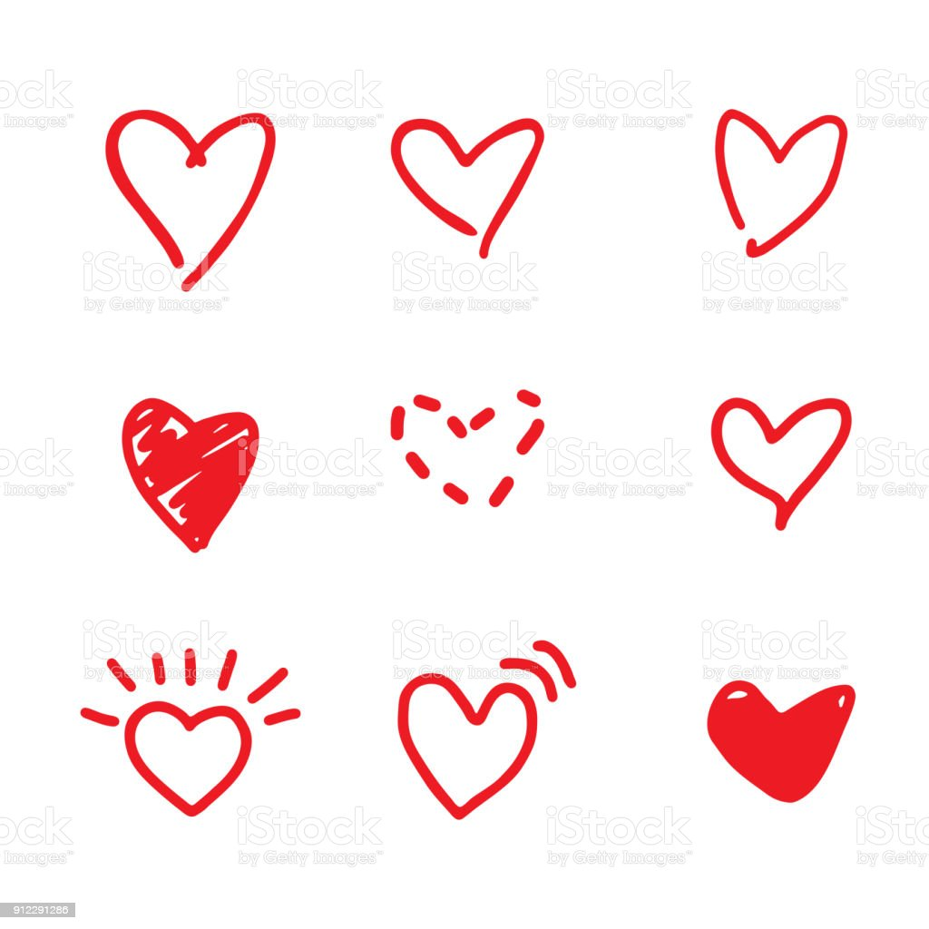 Doodle vector hearts vector art illustration