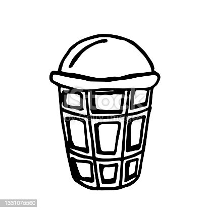 istock Doodle vector ice cream ball in a waffle cup isolated on a white background 1331075560