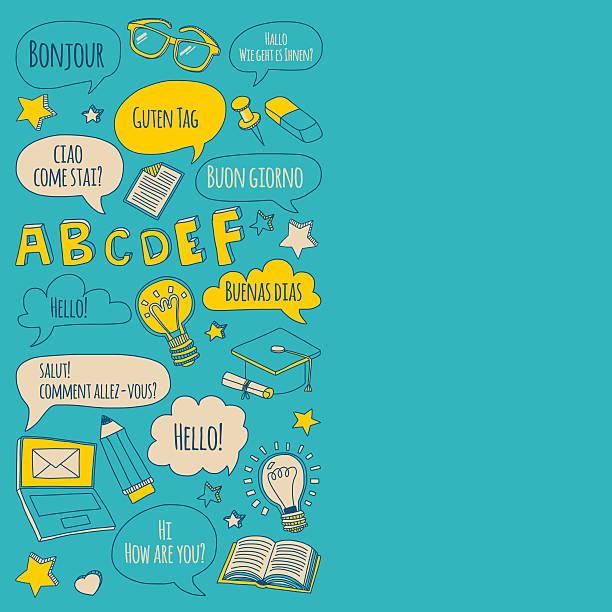 doodle vektor-icons foreing fremdsprachen - englischlernende stock-grafiken, -clipart, -cartoons und -symbole