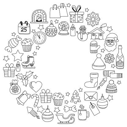 Doodle Vector Icons Merry Christmas And Happy New Year Stock Illustration - Download Image Now ...