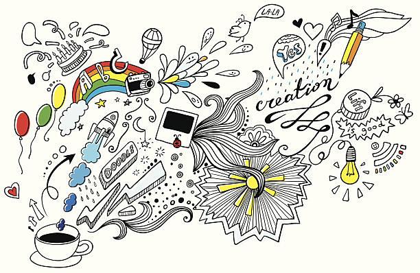 stockillustraties, clipart, cartoons en iconen met doodle - verbeelding