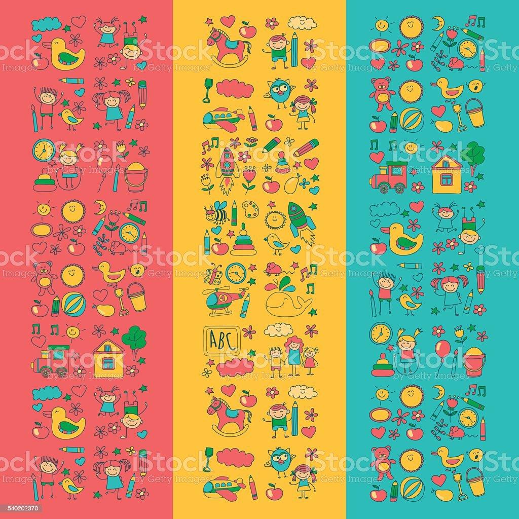 Doodle vector kindergarten elements vector art illustration