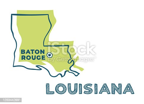 istock Doodle vector map of Louisiana state of USA. With legends of state and capital 1253442691