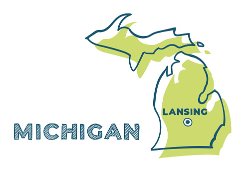 Doodle vector map of Michigan state of USA. With legends of state and capital