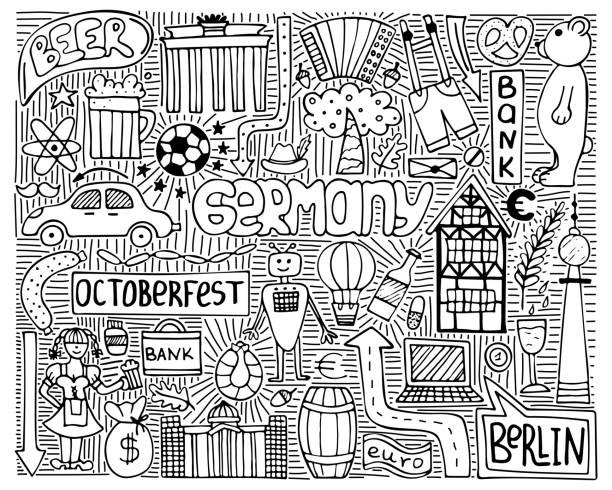 ilustrações de stock, clip art, desenhos animados e ícones de doodle vector monochrome poster with germany symbols. wall art. - berlin wall