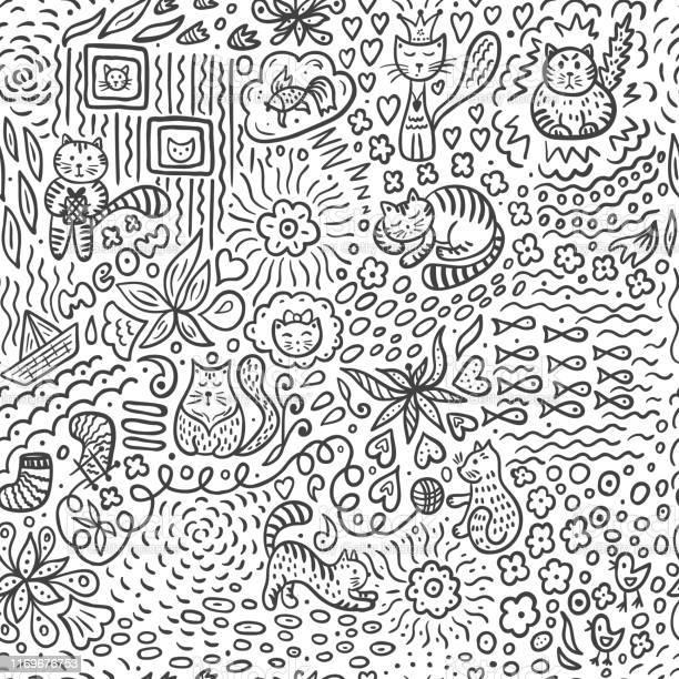 Doodle vector seamless pattern with cartoon cats and flowers abstract vector id1169676753?b=1&k=6&m=1169676753&s=612x612&h=l0kyqj3pkx wgxrqra6sy0ddwrhdijcgu0alhke0074=