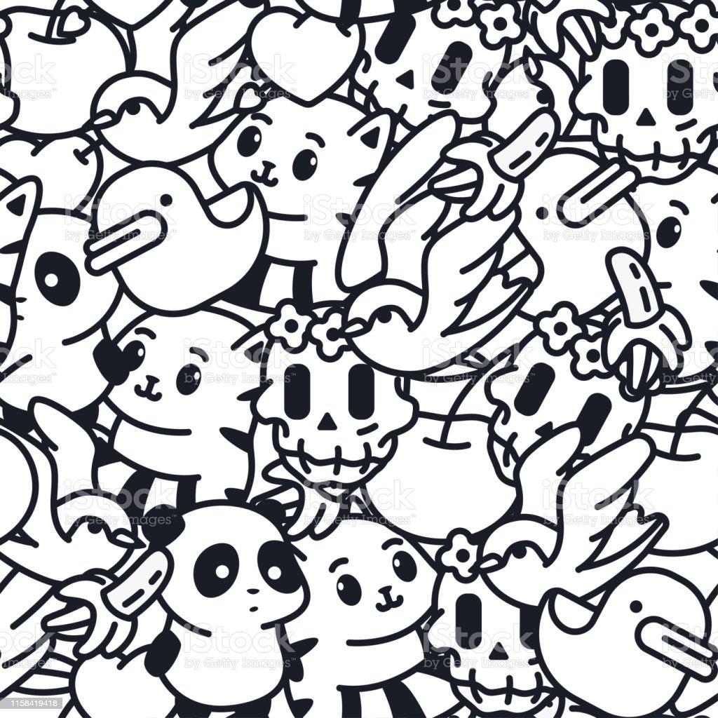 Doodle Vector Seamless Pattern With Duck Banana Cat Panda