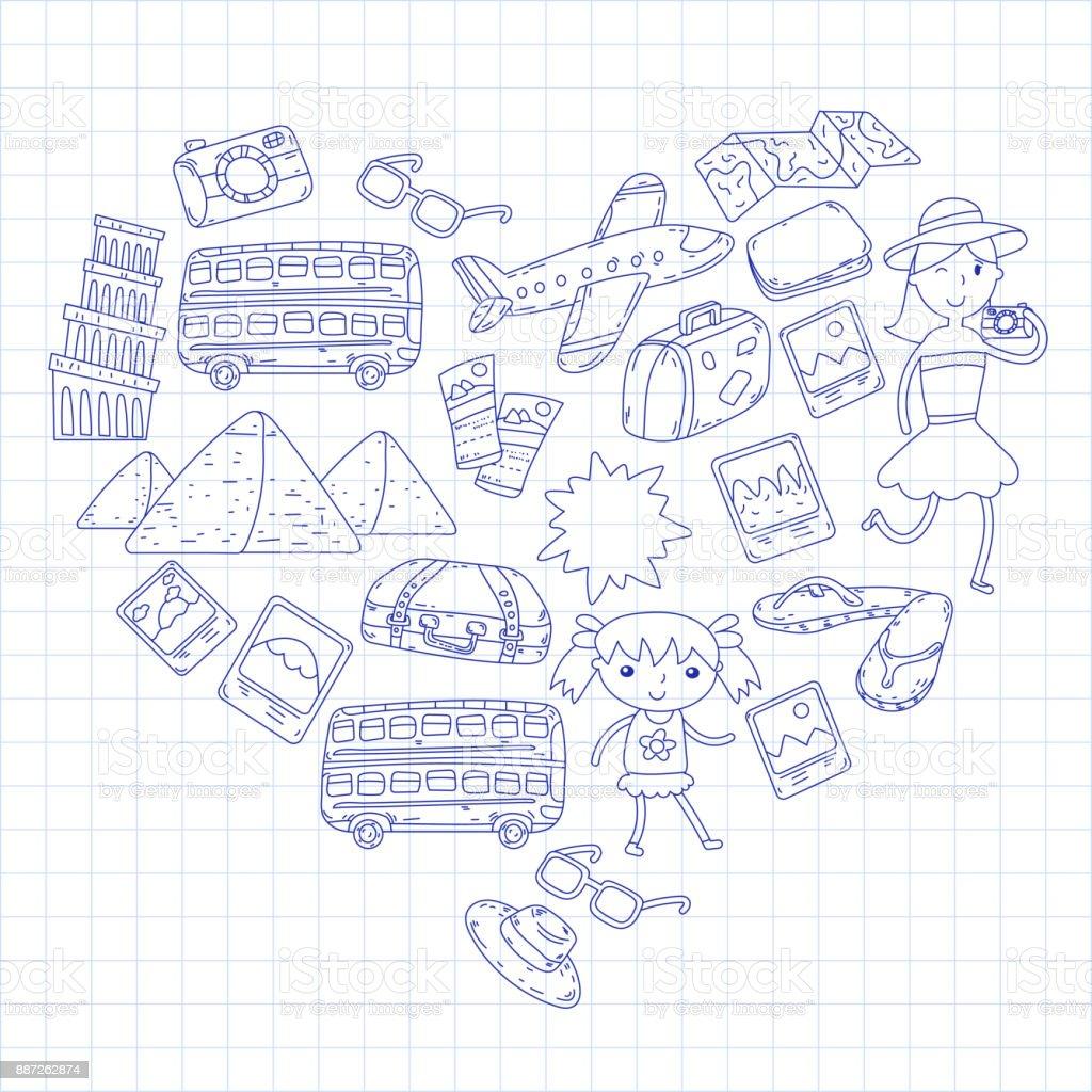 Doodlevektor Festgelegt Reisen Urlaub Abenteuer Kinder Mit Eltern ...