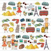 Doodle vector set Travel , vacations, adventure. Children with parents Preparing for your journey. Kindergarten, school summer vacation Kids drawing