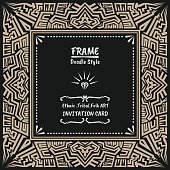 Doodle vector tribal ethnic style frame .Native Invitation card.
