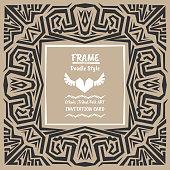 Doodle vector tribal ethnic style frame.Bohemian Invitation card