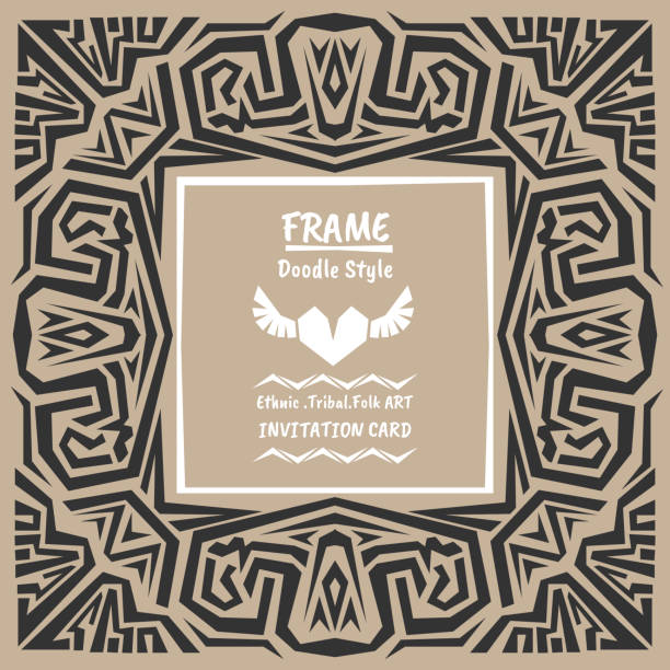 stockillustraties, clipart, cartoons en iconen met doodle vector tribal ethnic style frame.bohemian invitation card - houtgravure