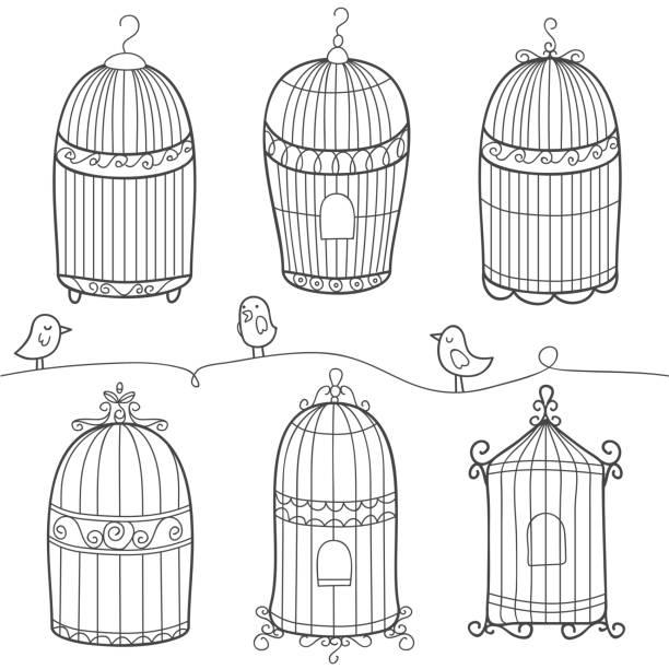 illustrations, cliparts, dessins animés et icônes de doodle vintage de cage à oiseaux - dessin cage a oiseaux