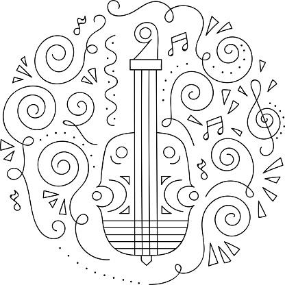 Doodle Keman Caz Festivali Boyama Sayfasi Stok Vektor Sanati