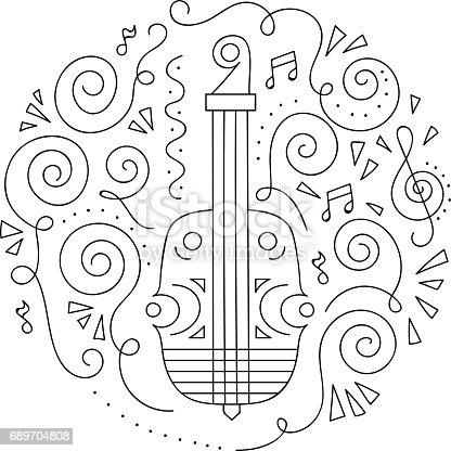 Doodle Keman Caz Festivali Boyama Sayfası Stok Vektör Sanatı