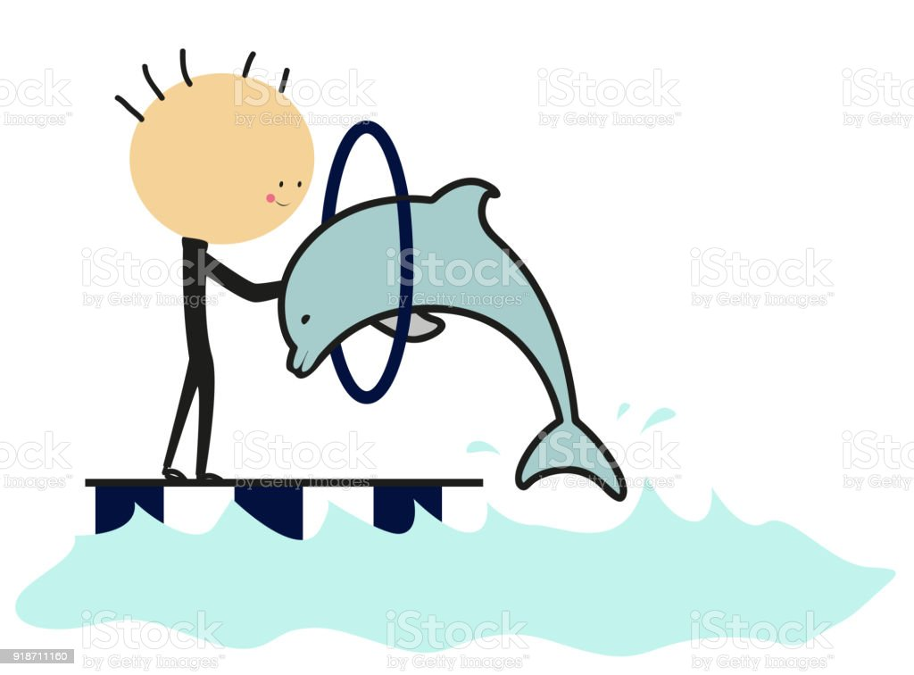 Doodle water circus dolphin vector art illustration