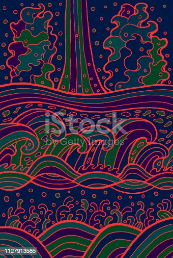 Doodle waves background. Cartoon psychedelic water ornaments. Vector illustration.