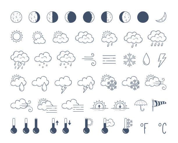 doodle wetter icons pack - schneeflocke sonnenaufgang stock-grafiken, -clipart, -cartoons und -symbole