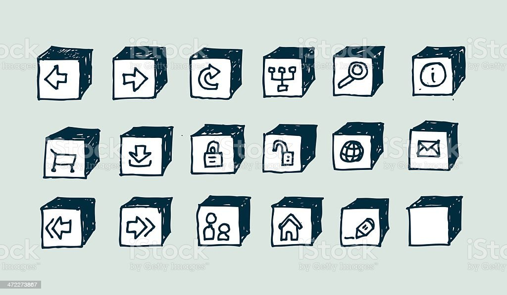 Doodle web icons: Box Set royalty-free doodle web icons box set stock vector art & more images of arrow symbol