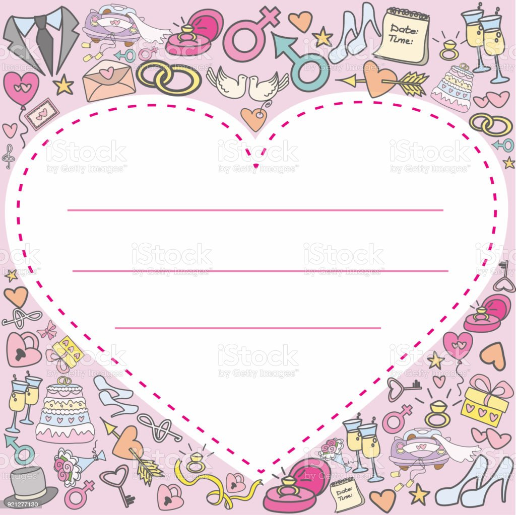 Doodle Wedding Greeting Card Or Invitation Card Stock Vector Art