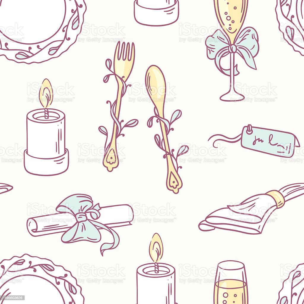doodle wedding table decoration seamless pattern hand drawn