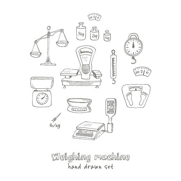 Doodle weighing machine set tools vector vector art illustration
