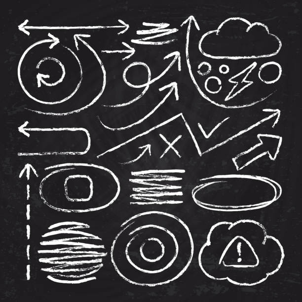 doodle white arrows and chalk design stroke scribble elements. sketch circle, line, round borders vector set - классная доска stock illustrations