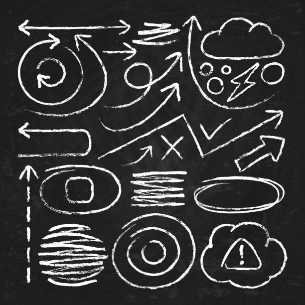 weiße pfeile doodle und kreide schlaganfall scribble designelemente. skizzieren sie kreis, linie, runde grenzen vektor-set - kreide weiss stock-grafiken, -clipart, -cartoons und -symbole
