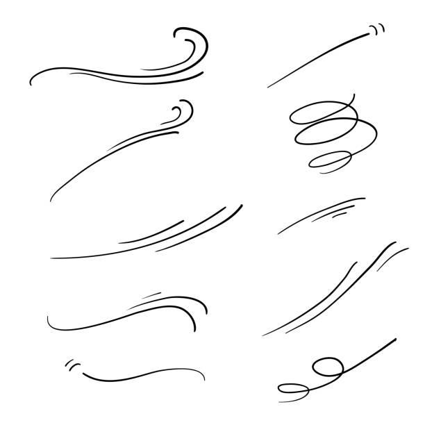 doodle wiatr ilustracja wektor handrawn styl - ruch stock illustrations