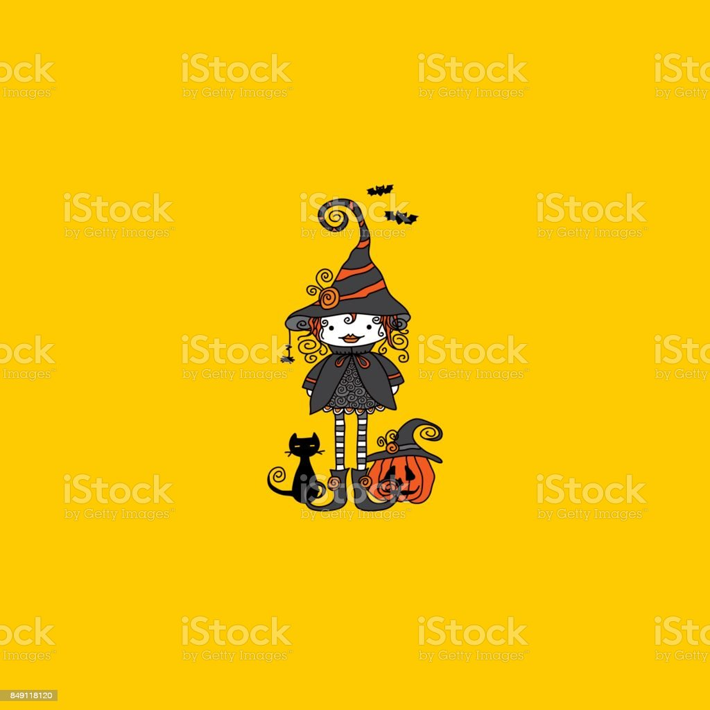 Doodle Witch Hand Drawn Doodle Vector on yellow background vector art illustration