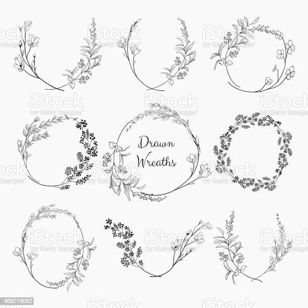 Doodle wreaths with branches herbs plants and flowers vector id938219052?b=1&k=6&m=938219052&s=612x612&h=0kxrjfjb 5lafud8dsjy6uusq0cdavtwvkrekycojqw=