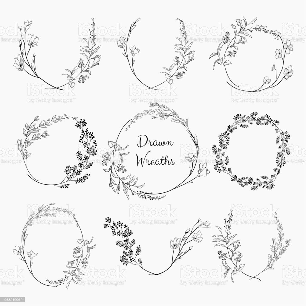 Doodle Wreaths with Branches, Herbs, Plants and Flowers vector art illustration
