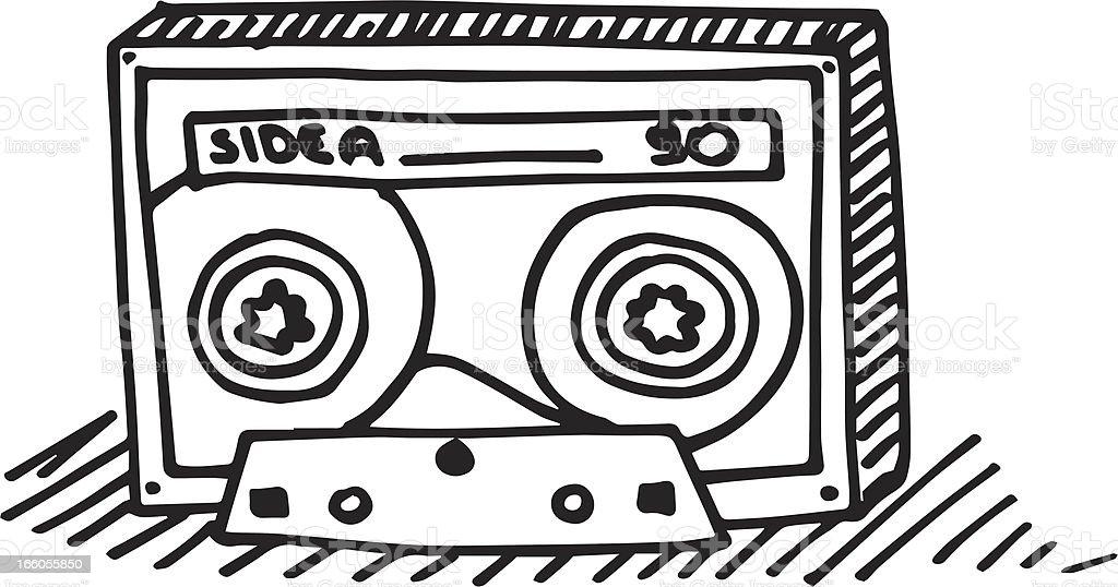 Doodled Audio Cassette royalty-free stock vector art