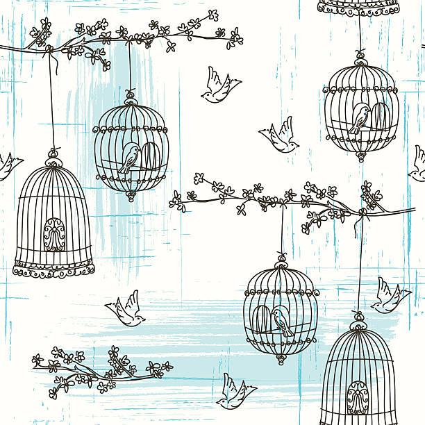 illustrations, cliparts, dessins animés et icônes de doodled oiseaux et fleurs de cerisier motif sans couture. - dessin cage a oiseaux