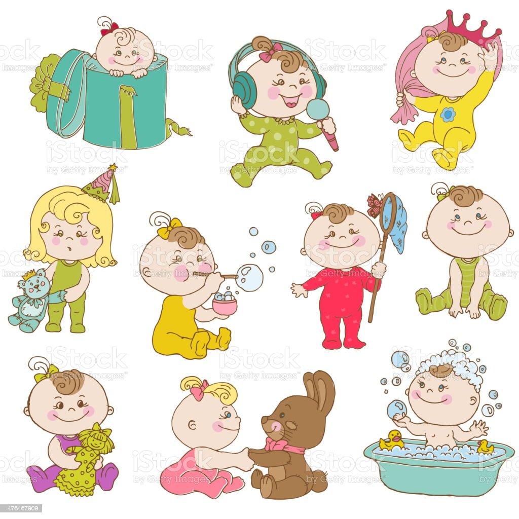 Doodled Cartoon Baby Girls royalty-free stock vector art