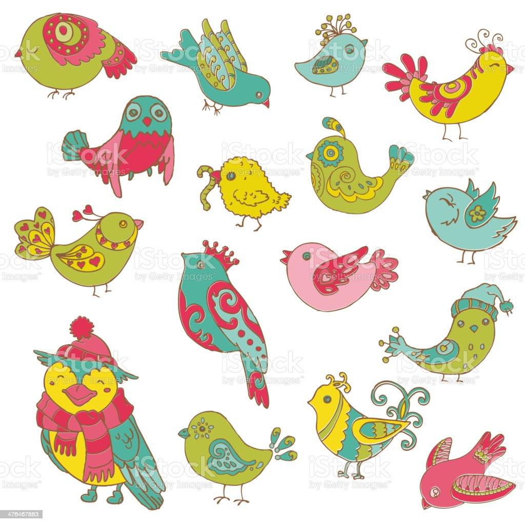 Doodled Cartoon Birds royalty-free stock vector art