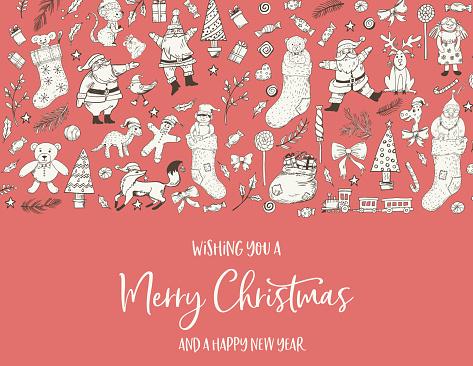 Doodled  Christmas Card Template