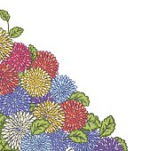 Doodled Chrysanthemum Border Design