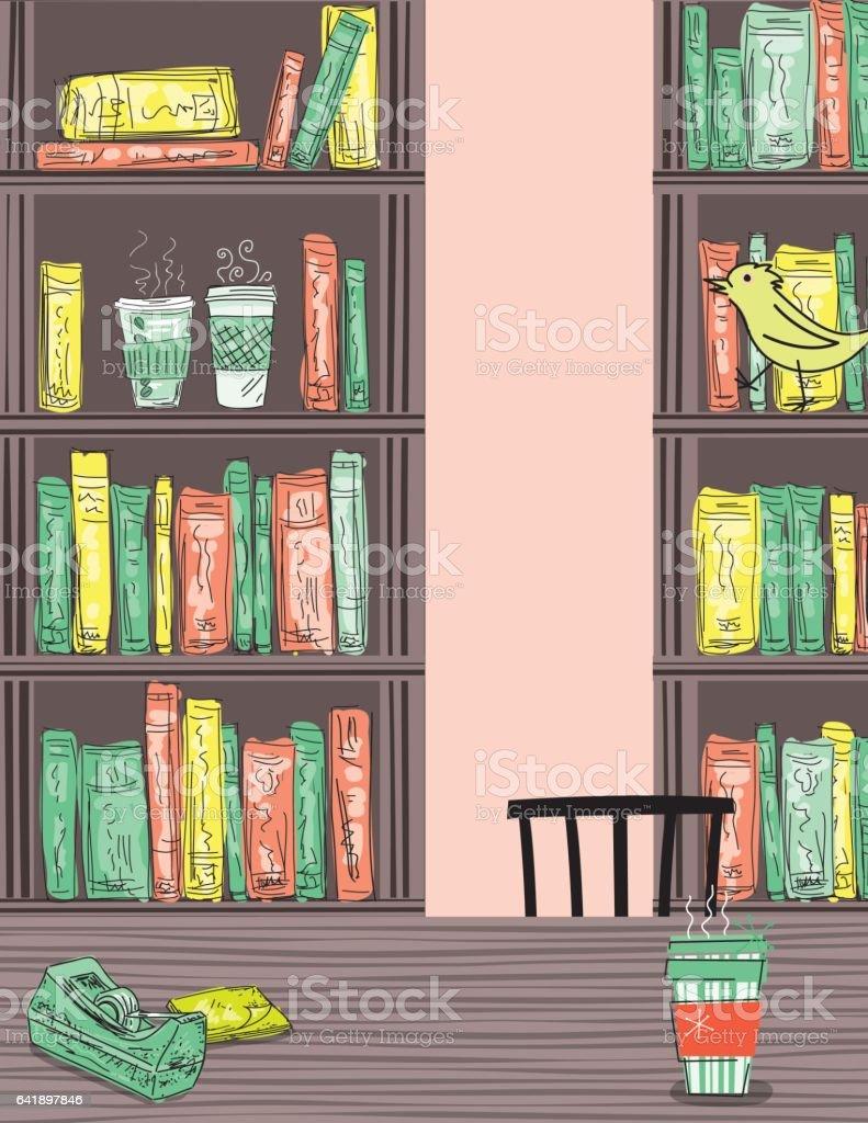 Doodled Cafe Et Des Livres Bibliotheque Cliparts Vectoriels Et