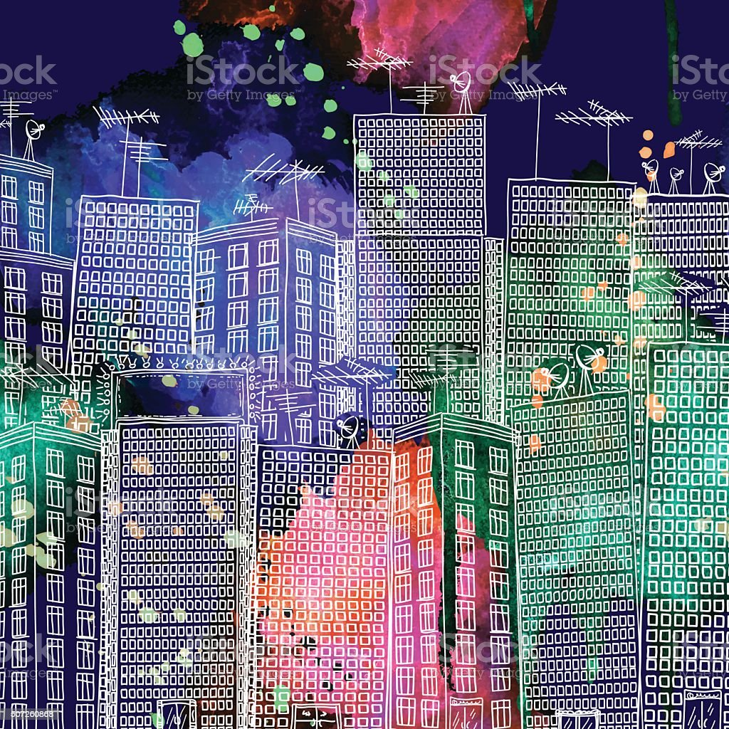Doodled Hand Drawn City On A Watercolor Background vector art illustration