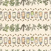 Doodled Herbs And Spices Seamless Repeating Pattern