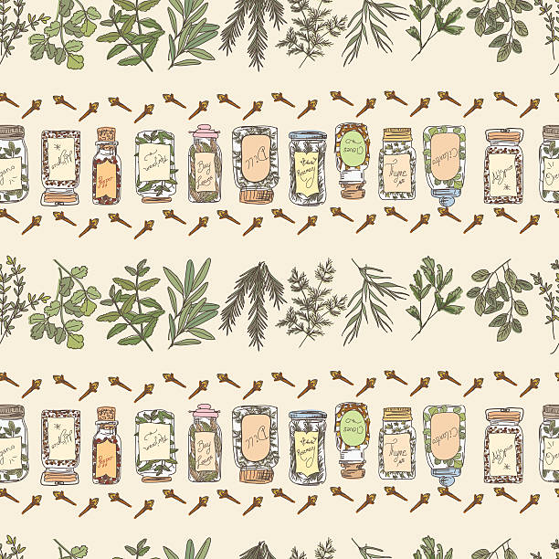 doodled herbs and spices seamless repeating pattern - kräutermischung stock-grafiken, -clipart, -cartoons und -symbole