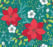 Doodled Holiday Poinsettia Floral Seamless Vector Pattern