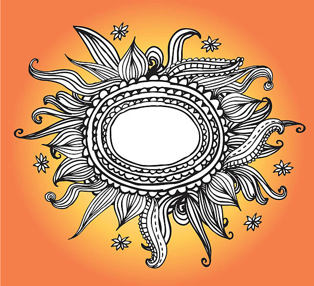 Doodled Sonnenblume/So – Vektorgrafik