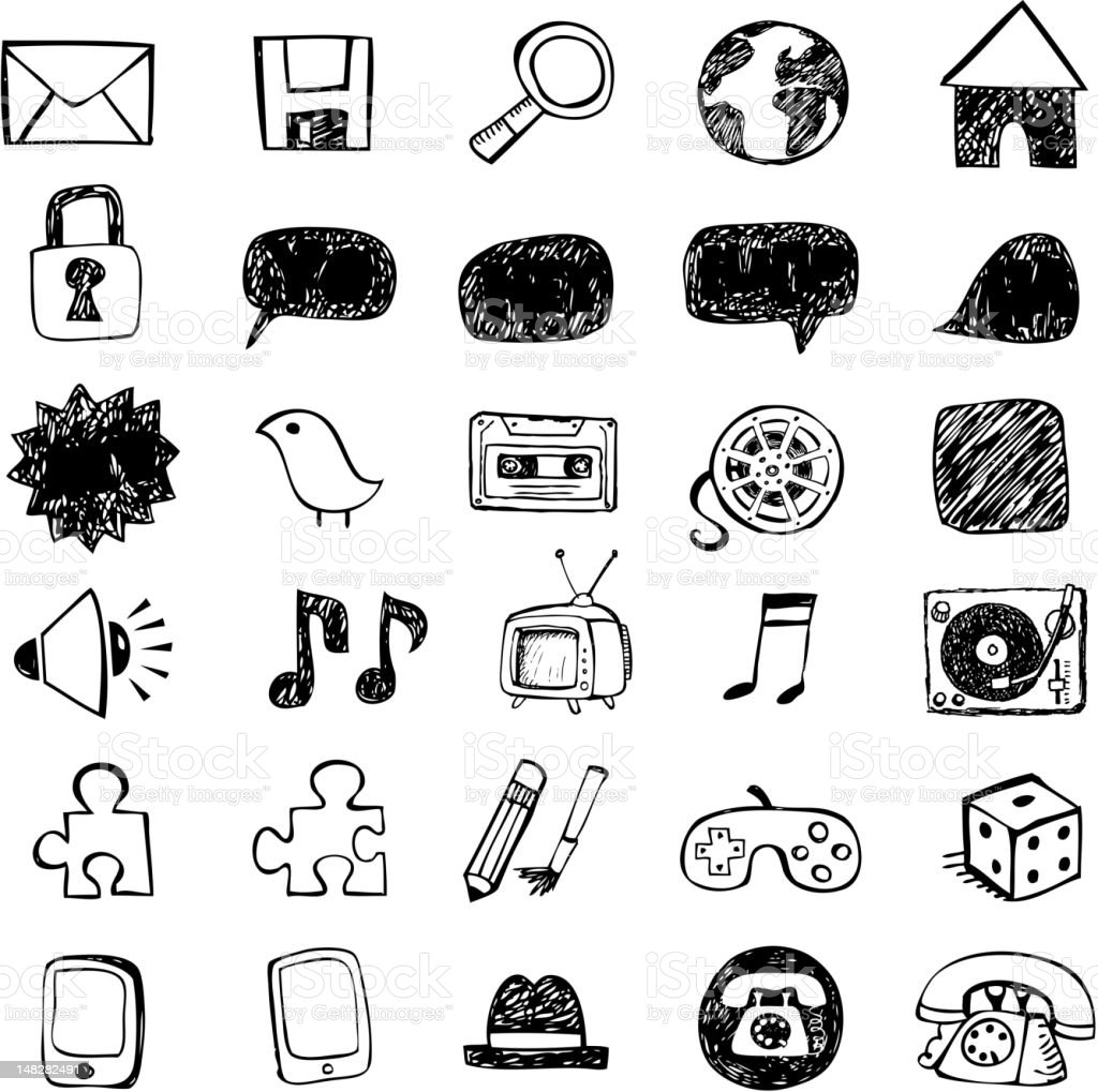 Doodled vector icons royalty-free doodled vector icons stock vector art & more images of arrow symbol