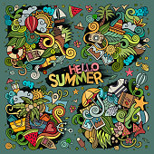 Cartoon hand-drawn doodles summer illustration. Colorful detailed, with lots of objects vector background