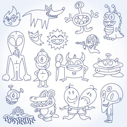 Doodles Aliens & Monsters Vector Illustration Drawing Set