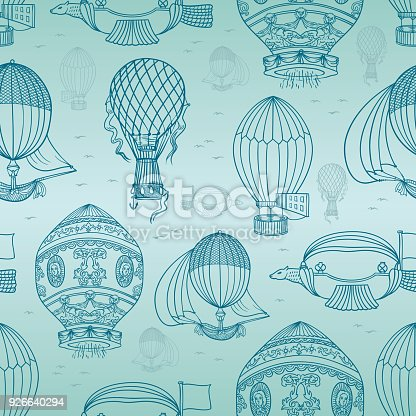 istock Doodles Ancient Hot Ballons Seamless Backgroung 926640294